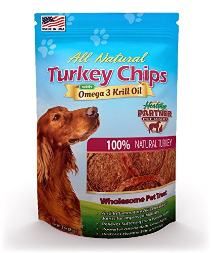 Healthy Partner Turkey - Healthy Partner Pet Snacks Turkey Chips with Krill, 5.5-Ounce (Pack of 4) by Healthy Partner Pet Snacks