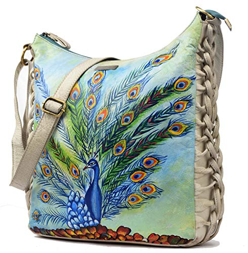 Leaderachi Leather Hand Painted crossbody women Bag [PAVONE]
