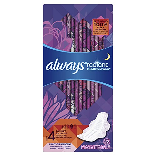 - Always Radiant Overnight Pads, Size 4, 22 Count, Light Clean Scent