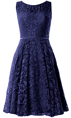 MACloth Women Lace Cocktail Dress Vintage Knee Length Wedding Party Formal Gown Azul Marino Oscuro