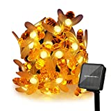 ER CHEN Solar Powered String Lights, 30 Cute Honeybee LED Lights, 15FT 8 Modes Starry Lights, Waterproof Fairy Decorative Lights for Outdoor, Wedding, Homes, Gardens, Patio, Party etc (Warm White)