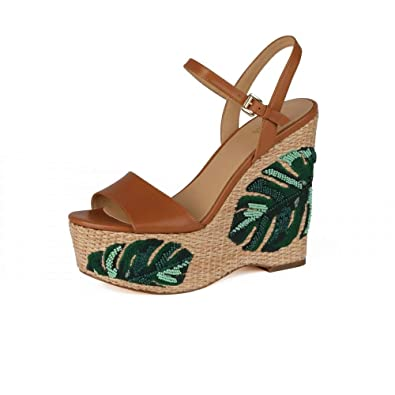 c1525681205 Image Unavailable. Image not available for. Color  Michael Michael Kors Fisher  Palm Embroidered Wedge ...