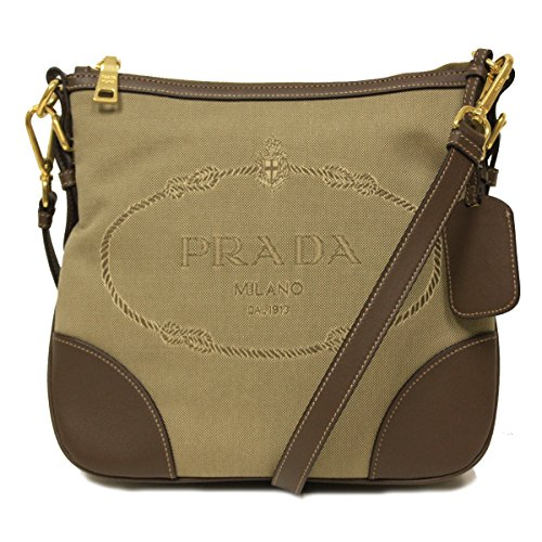 Prada Brown Leather and Canvas Corda Bruciato Crossbody Messenger Bag (Prada Canvas Handbag)