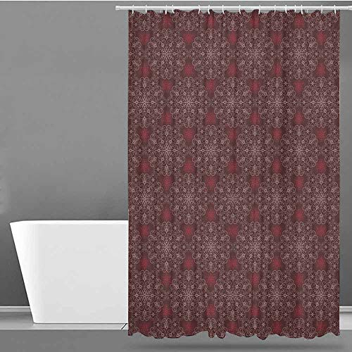 VIVIDX Shower Curtain with Hooks,Maroon,Detailed Ornate Flowers Curves Swirls Petals Dusky Victorian Garden Theme,Waterproof Colorful Funny,W55x84L Maroon Burgundy White