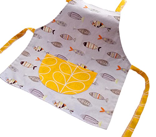 (FANCYKIDS Toddler Little Girls Boys Baking Bakeware Cute Chef Baking Top Apron with Pocket (18 Months to 2T, Fish))
