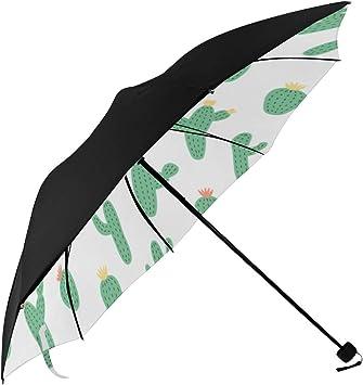 Auto Open and Close Button Travel Umbrella Windproof-Cartoon Green Cactus Flowering,Durable Folding Compact Umbrella for Outdoor Rainy Use