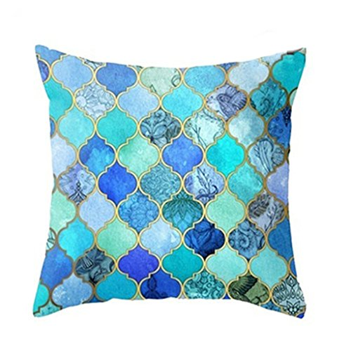 43cm Square Pillow Cushion Cover Letter Print Linen Pillowcase (Pattern 3) - 2