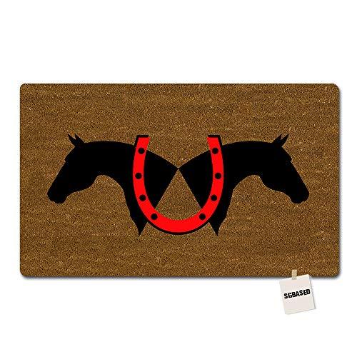 - SGBASED Door Mat Red Horseshoe Mat Rubber Non-Slip Entrance Floor Mat Outdoor & Indoor Rug Doormat Non-Woven Fabric (30 X 18 inches)