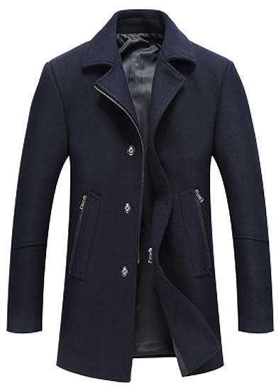 Garçon dépais manteau de laine en long manteau de fourrure épaisse veste de laine pour hommes.,Bleu,L Vêtements
