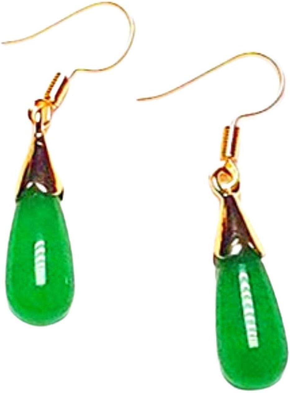 Pendientes de gancho hechos a mano con jade verde natural chapado en oro de 14 quilates
