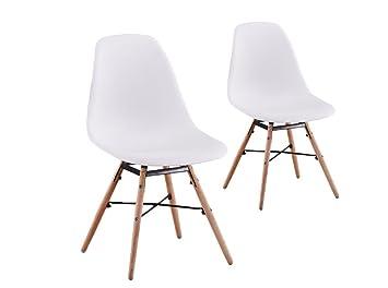 usinestreet lot de 2 chaises scandinaves luna coque plastique et pieds bois couleur blanc - Chaises Scandinaves Couleur