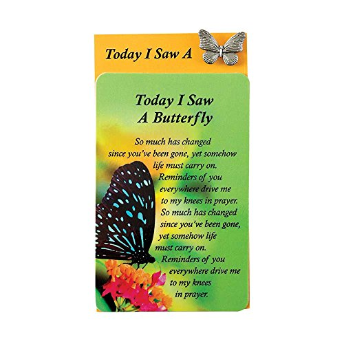 Today I Saw A Butterfly Green 1 x 1 Inch Cardstock Pocket Card and Pin