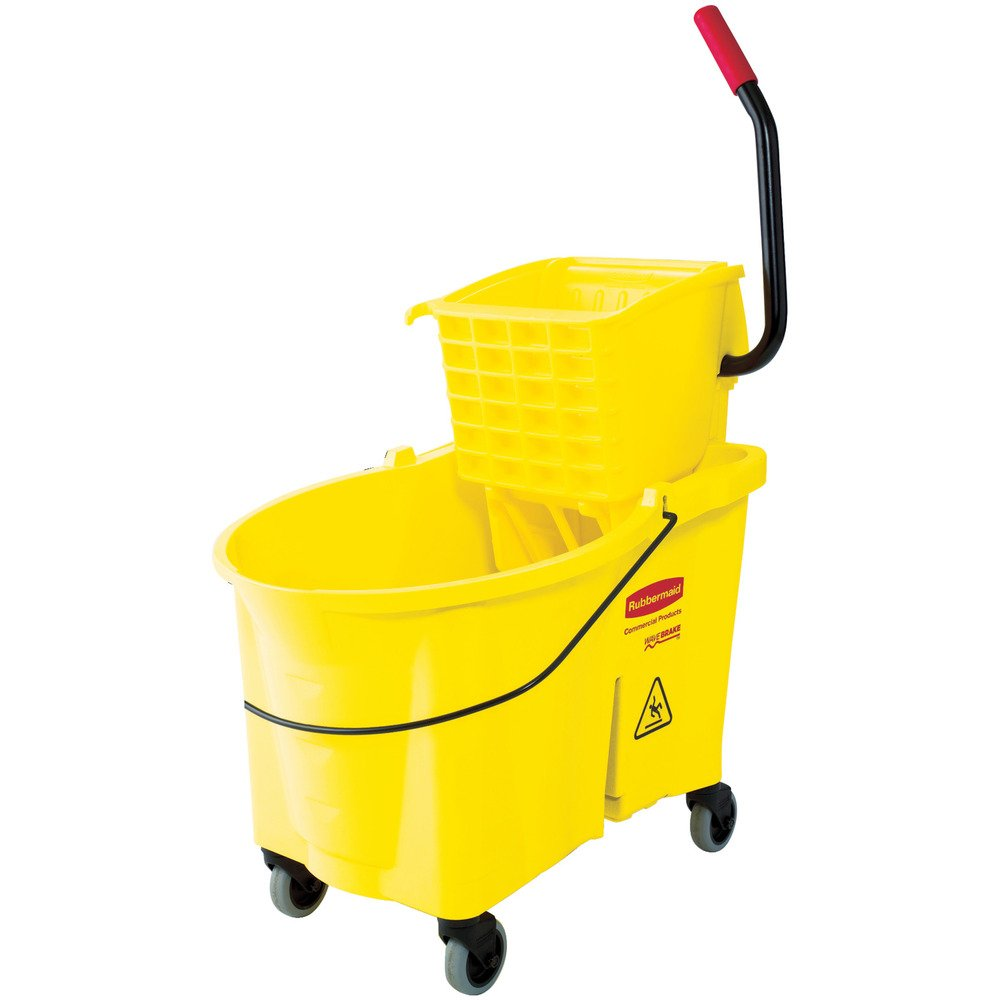 Rubbermaid Commercial Products FG618688YEL WaveBrake Mopping System Bucket and Side-Press Wringer Combo, 44 quart, Yellow by Rubbermaid Commercial Products