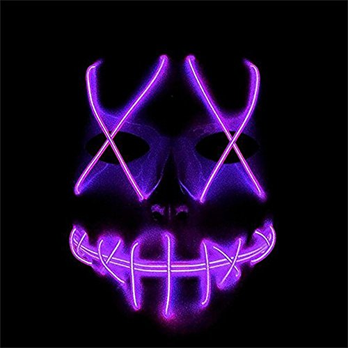 Helengili Frightening EL Wire Halloween Cosplay Led Mask Light Up Mask for Festival Parties 8 Colours (Girl Purge)