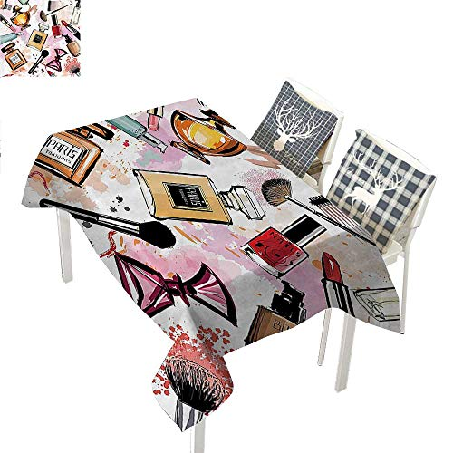 (WilliamsDecor Girly Decor Table Cloths Spill Proof Cosmetic and Make Up Theme Pattern with Perfume and Lipstick Nail Polish Brush Modern City LadyMulti Rectangle Tablecloth W60 xL120 inch)