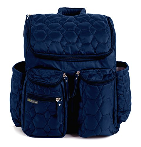 Diaper Backpack By Wallaroo - with Stroller Straps, Wet Diaper Bag and Changing Pad – For Women and Men - 25 Liters (MEDIUM) - BLUE by Wallaroo