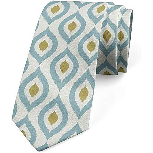 Corbata, Ondas horizontales retro nómadas, crema azul mostaza ...
