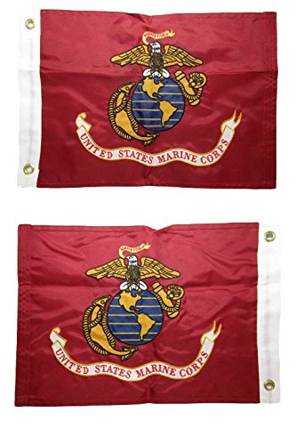 AES 12x18 Embroidered EGA Marines Marine Corps Double Sided 2ply 220D Nylon 12x18 Banner Grommets Double Stitched Fade Resistant Premium Quality