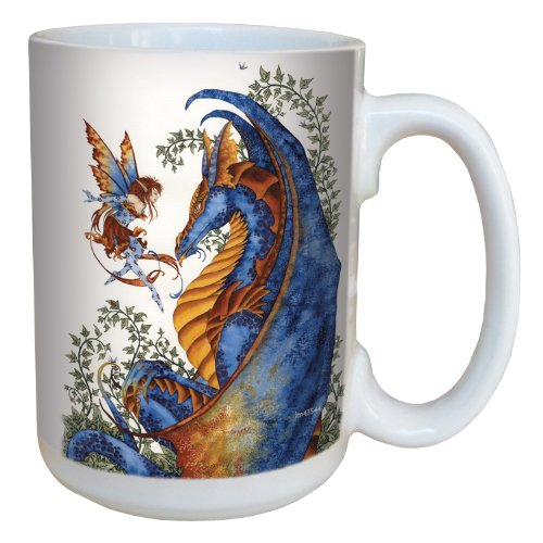Fantasy Curiosity Dragon and Fairy Coffee Mug - Large 15-Ounce Ceramic Cup - Amy Brown - Gift for Fantasy Lovers - Tree-Free Greetings lm43544