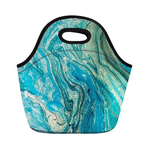 Semtomn Neoprene Lunch Tote Bag Blue Aquamarine Marbling Creative Abstract Oil Cracks Liquid Paint Reusable Cooler Bags Insulated Thermal Picnic Handbag for Travel,School,Outdoors, Work ()