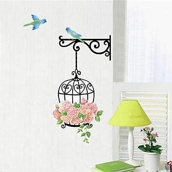 CHENXU Colorida flor jaula de pájaros calcomanías de pared pájaros ...