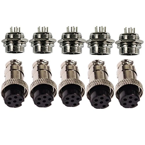 Lsgoodcare 5PCS AC 200V 5A 16mm 6 Pin Female Aviation Connector Plug + 5PCS AC 200V 5A 16mm 6 Pin Male Aviation Connector Plug