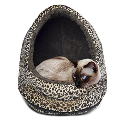 FurHaven Pet Hood Bed | Animal Fur Print Hood Pet Bed for Dogs & Cats, Cheetah, One-Size