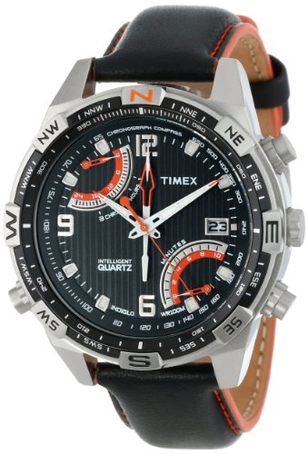 (Timex Men's T49867 Intelligent Quartz Fly Back Chrono Compass Black Leather Strap Watch)