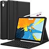 CHESONA iPad Pro 11 Keyboard Case 2018 - Detachable Wireless Keyboard [Support Apple Pencil Charging] - Ultra Slim PU Leather Folio Stand Cover with Pencil Holder for iPad Pro 11 Inch 2018, Black