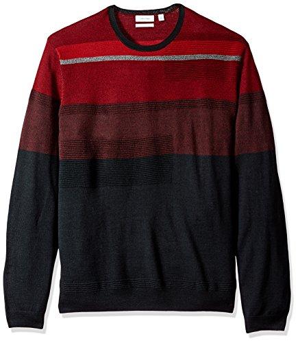 Calvin Klein Men's Merino Crew Neck Sweater, Dusty Black Combo, 2X-Large by Calvin Klein