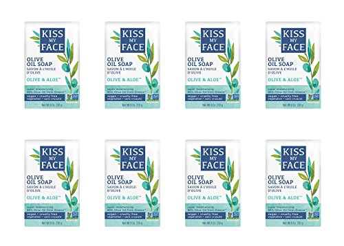 Kiss My Face Pure Olive Oil Soap with Aloe Vera, Moisturizing Bar Soap, 8 oz Bars, (pack of 8) (Oil Aloe)