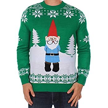 Men's Ugly Christmas Sweater - The Suspicious Gnome Sweater Green Size XXL