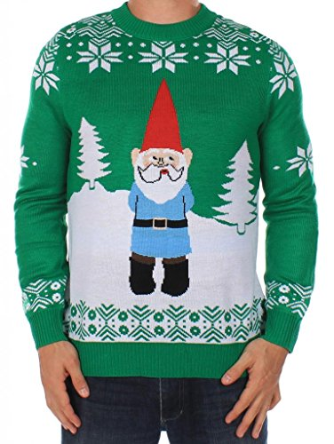 Men's Ugly Christmas Sweater - The Suspicious Gnome Sweater Green Size L