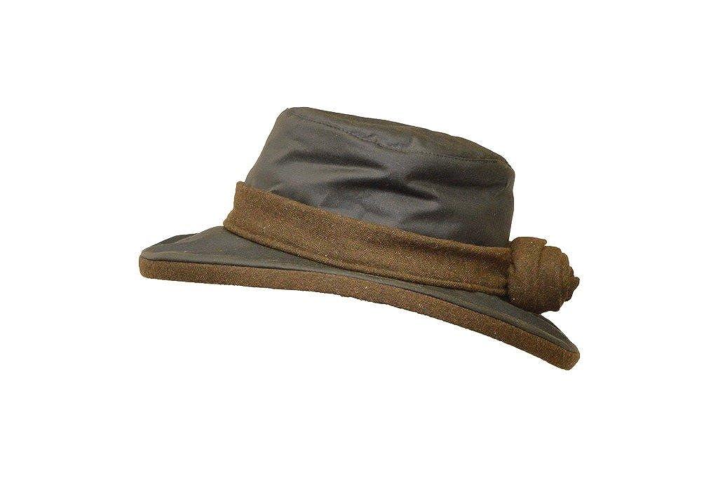 cappello a tesa larga con fiore Walker /& Hawkes/ verde oliva /Cappello cerato da donna con rosa Windsor