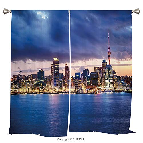 Rod Pocket Curtain Panel Thermal Insulated Blackout Curtains for Bedroom Living Room Dorm Kitchen Cafe/2 Curtain Panels/108 x 95 Inch/City,Auckland The Biggest City in New Zealand Waterfront Travel -