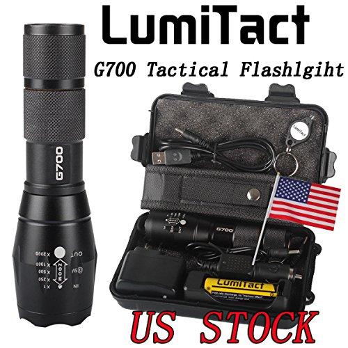 LumiTact Genuine G700 LED Tactical Flashlight Military Grade Torch, USB Rechargeable Super bright, with battery & charger
