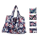 Foldable Reusable Grocery Bags 4 Cute Design,Sky Castle Eco Friendly Large Foldable Grocery Tote Bag Heavy Duty Washable Shopping Bags (Flower)