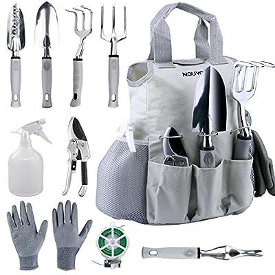 NOUVCOO 10 Pcs Garden Tools Set for Women Men with Plant Ties, Stainless SteelHand Tool Kit,Durable Storage ToteBag,Pruner,Shovel,Fork,Rake,Shears,Weeder,Gloves,Water Sprayer,Plant Ties