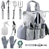 10 Pcs Garden Tools Set for Women Men with Plant Ties,NOUVCOO Stainless SteelHand Tool Kit,Durable Storage ToteBag,Pruner,Shovel,Fork,Rake,Shears,Weeder,Gloves,Water Sprayer,Plant Ties - NC24