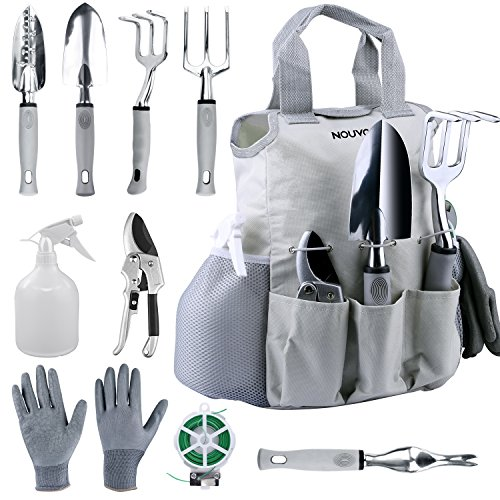 NOUVCOO 10 Pcs Garden Tools Set for Women Men with Plant Ties, Stainless Steel Hand Tool Kit,Durable Storage Tote Bag,Pruner,Shovel,Fork,Rake,Shears,Weeder,Gloves,Water Sprayer,Plant ()
