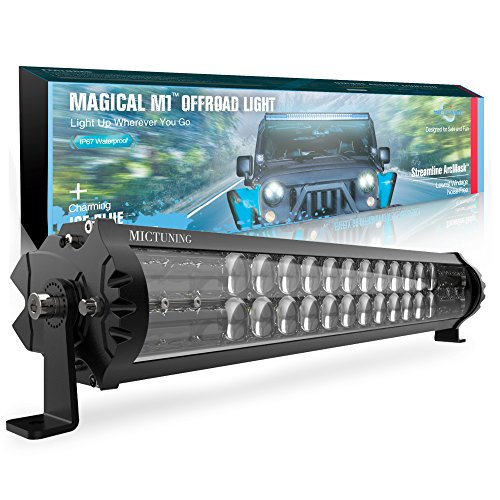 - MICTUNING Magical M1 18 Inch Aerodynamic LED Light Bar - Exclusive Curved Lens Wind Diffuser - 9720lm Off Road Driving Work Lamp, 2 Years Warranty
