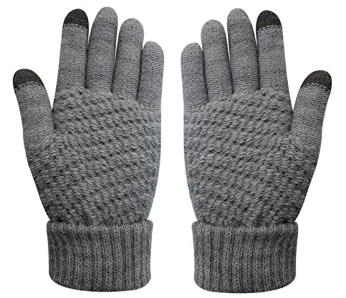Womens Touch Screen Warm Soft Winter Knit Texting Gloves Cute Fashion Mittens for Smartphone Iphone Ipad(Grey)