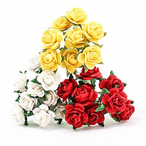 120 PCS Rose 10mm White Red Yellow Mulberry Paper Flower DIY Handmade Wedding Scrapbook ()
