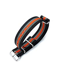 MiLTAT 22mm G10 NATO Bullet Tail Watch Band, Thick, Brushed, Black, Grey & Orange