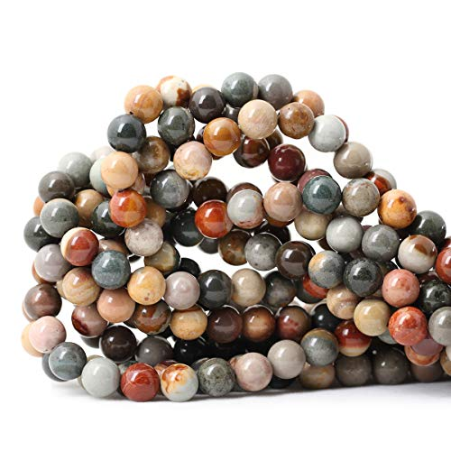 CHEAVIAN 45PCS 8mm Natural USA Picture Stone Gemstone Round Loose Beads for Jewelry Making DIY Findings 1 Strand 15