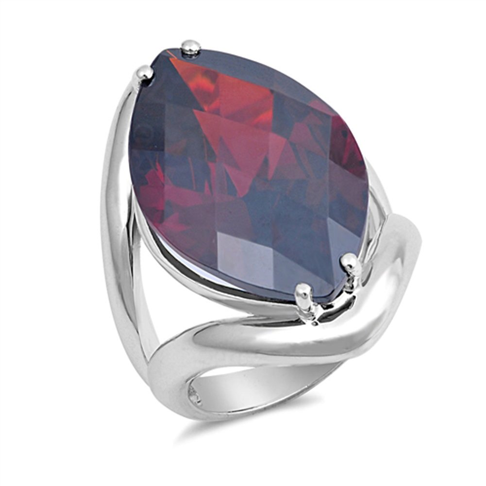 Large Wide Simulated Garnet Promise Ring New .925 Sterling Silver Band Sizes 5-10 Sac Silver