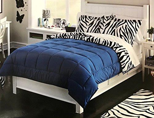 Luxlen Zebra Pattern Comforter Set, Reversible, Full / Queen, Blue (Comforter Zebra Polyester)