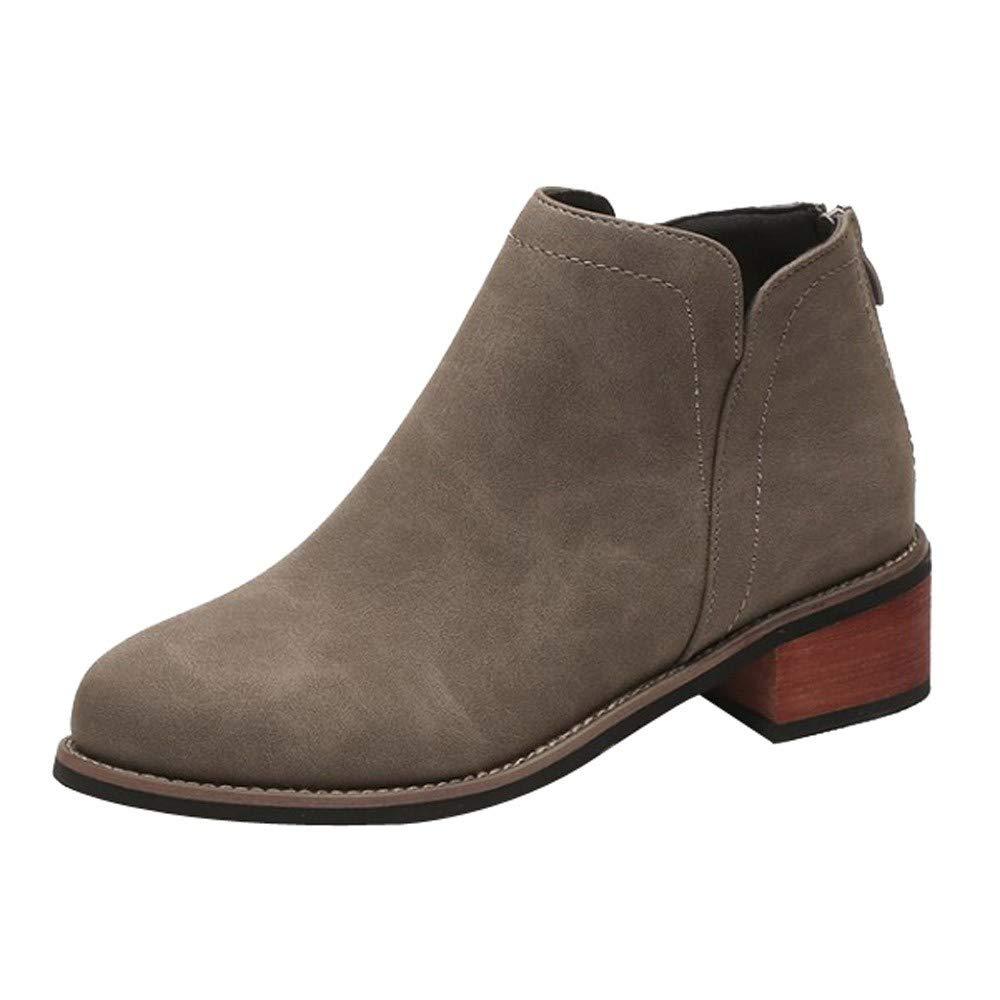Lunaanco Moda Mujer Martin Boots Botines Scrub Thick Heel Lady Boots Zapatillas de Deporte Zapatos Casuales Ocasionales Aumentan