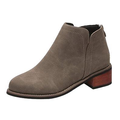 369194d14bfd85 Damen Chelsea Boots Blockabsatz Frauen Ankle Leder Boots Outdoor Schuhe