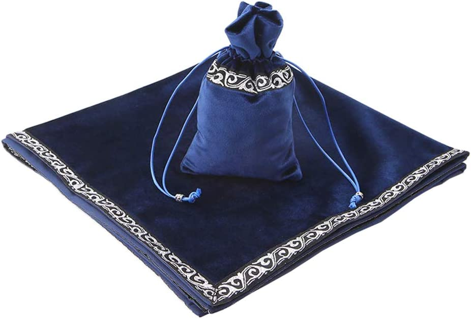Blue 26 inch Altar Tarot Cloth Tablecloth Divination Wicca Velvet Tapestry with Tarot Cards Runes Bag
